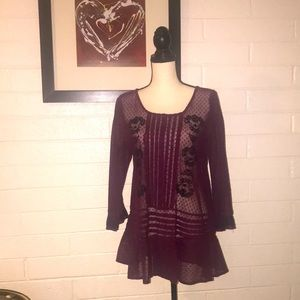FREE PEOPLE embroidered ruffle wine tunic.